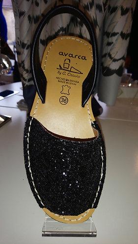 Glitter Menorcan Sandals - Black Glitter