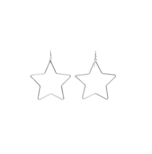 Large Star Earings - silver
