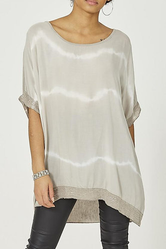 Tie Dye Sequin Oversized Top -Mocha