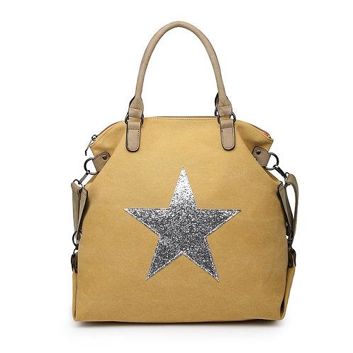 Large Glitter Star Bag - Mustard /Silver Star