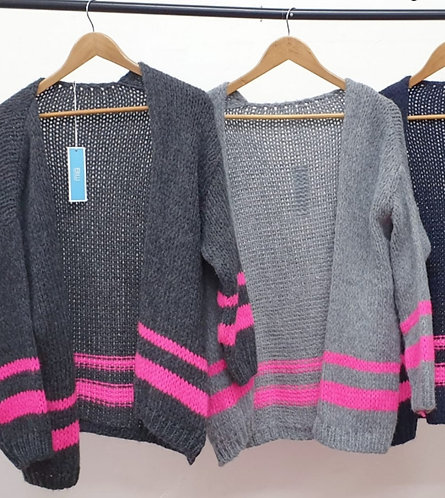 Pink double stripe Cardigan - choice of colours