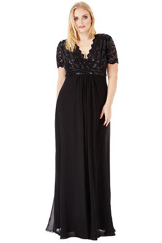 Sequin top ball gown - Black