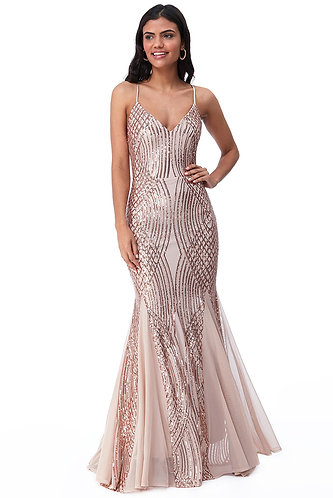 Sequin ball gown - champagne