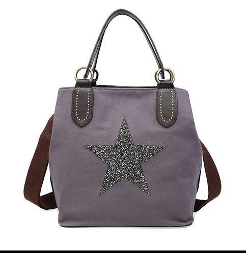 Crystal encrusted medium star bag - mauve