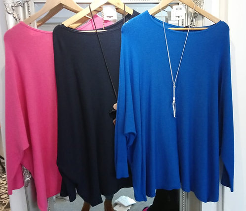 Button sleeve oversized jumper - pink, navy or royal blue