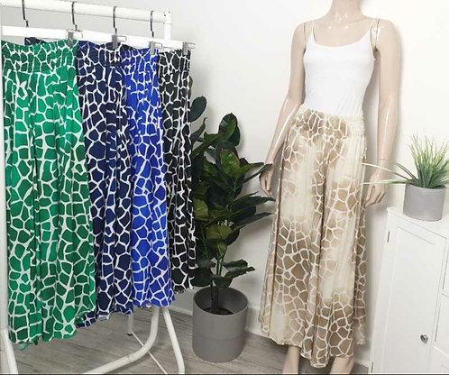 Giraffe print wide leg trousers - choice of colours