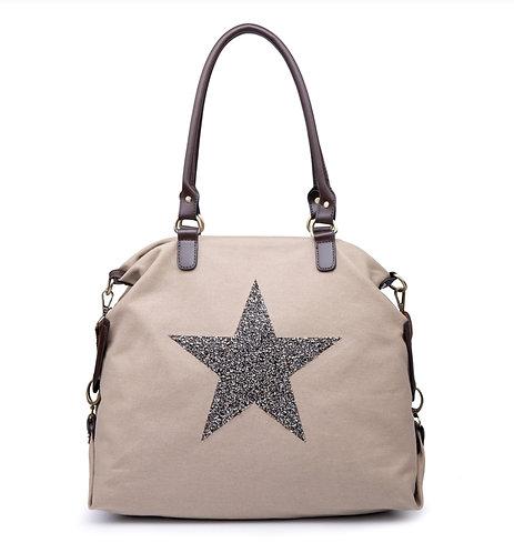 Crystal encrusted Star Bag - Large- taupe