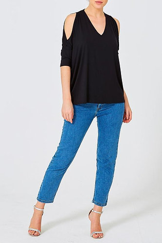 Cold Shoulder V Neck Top - Black