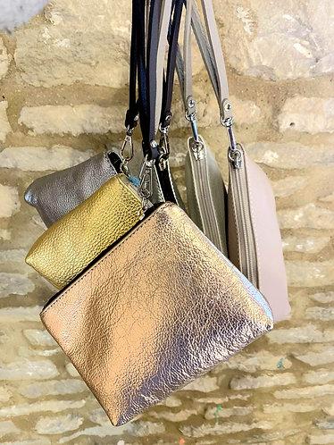 Leather metallic wrist bag/ purse - choice of metallic colours