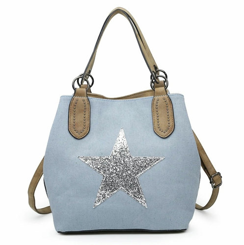 Medium star bag- Light blue / silver star
