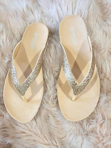 Rose Gold/ Champagne Sparkle Flip Flop