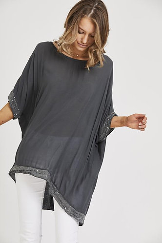 Sequin Detail Oversized Top - Dark Grey