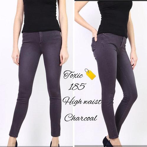 Super Stretch High Waisted Jeans - Dark  Grey