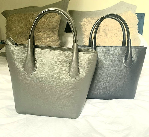 Cute leather tote bag - navy or grey