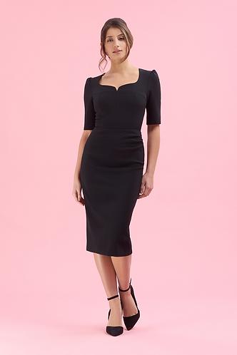 Charlotte Mid Sleeve Pencil Dress - Black