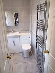 White gloss bathroom furniture, basin and WC unit, Jim and Jan in Luton