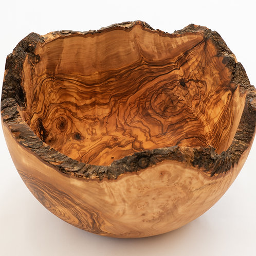 "24cm/9.5"" - 27cm/ 10.5"" Extra Large Rustic Edge Olive Wood Bowl"