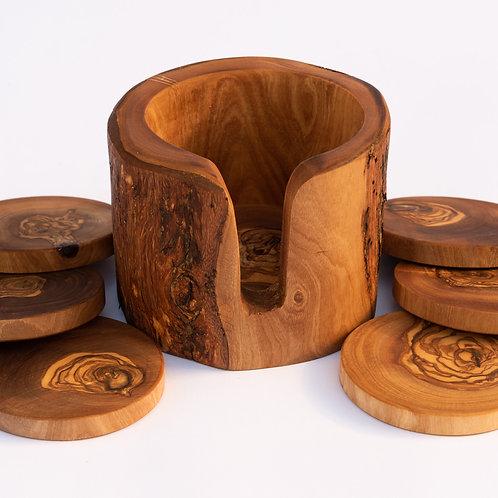 Olive Wood Coaster Set and Holder
