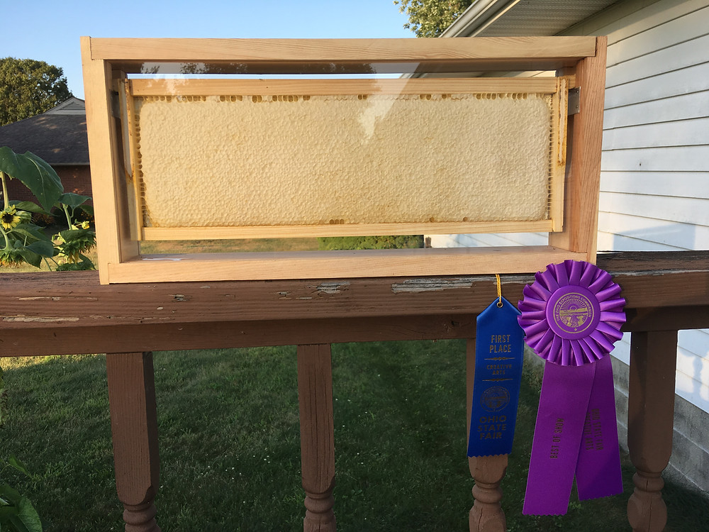 Honey frame. White cappings. Ohio State Fair Honey Competition. Dunham Bees.