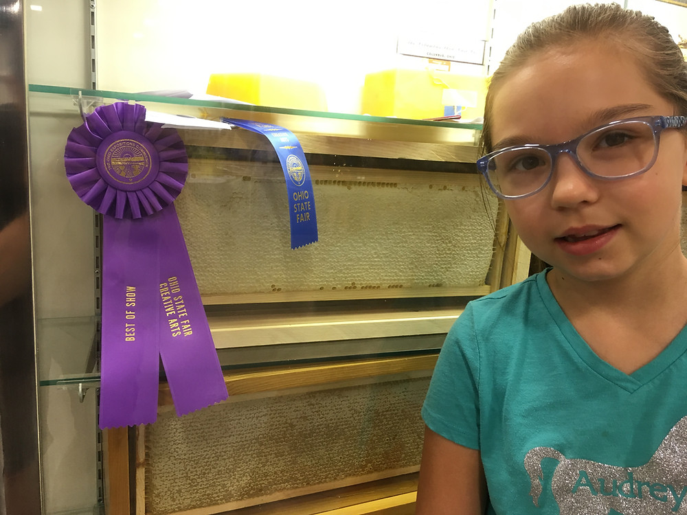 Ohio State Fair Honey Show. Honey frame. Beeswax. Best of Show. Dunham Bees.