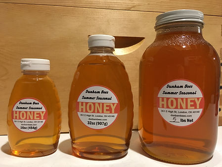 Local honey. Dunham Bees. London, Ohio.