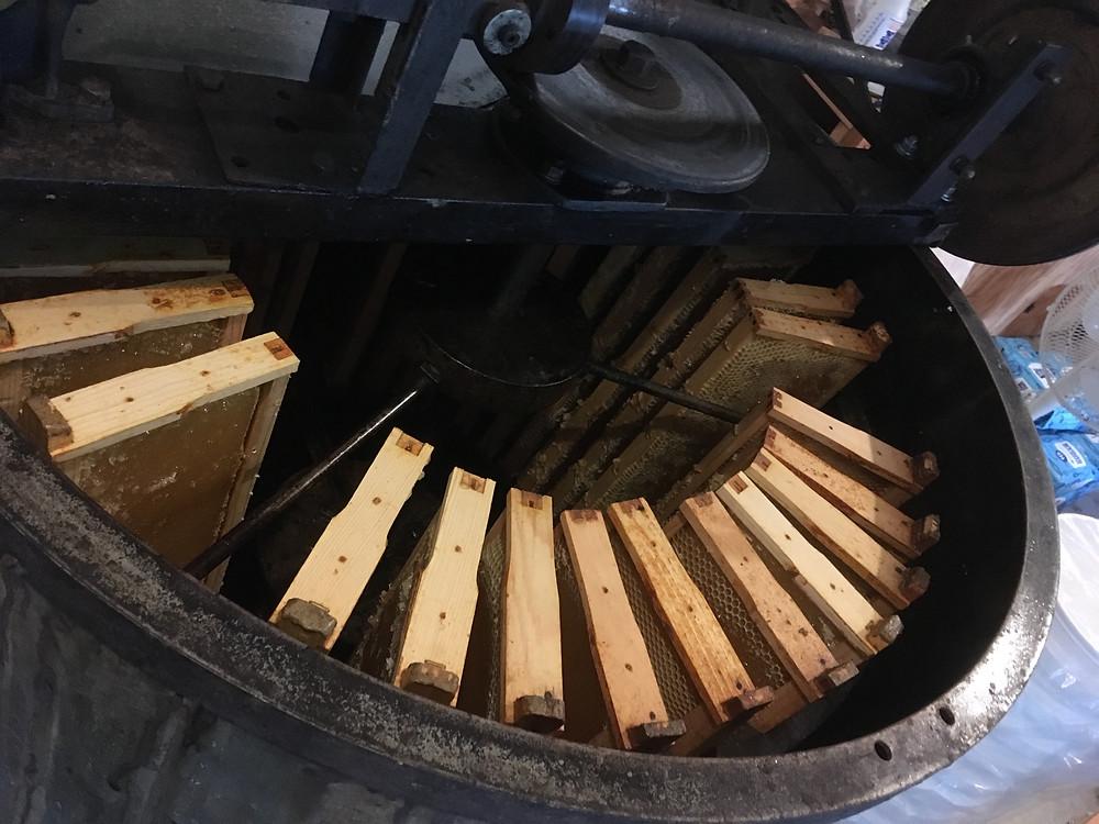 Honey extractor. Walter T. Kelley. Dunham Bees. Honey farm. London, Ohio.