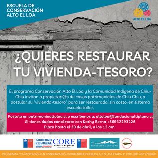 Programa de conservación patrimonial en restauración de fachadas pueblo de Chiu-Chiu.