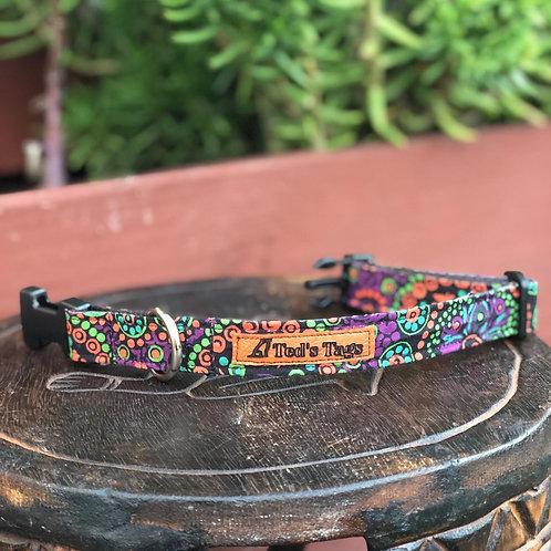Indigenous Artwork Design Dog Collar. Purple/Green/Orange