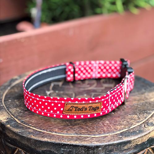 Red Polka Dot Design Dog Collar