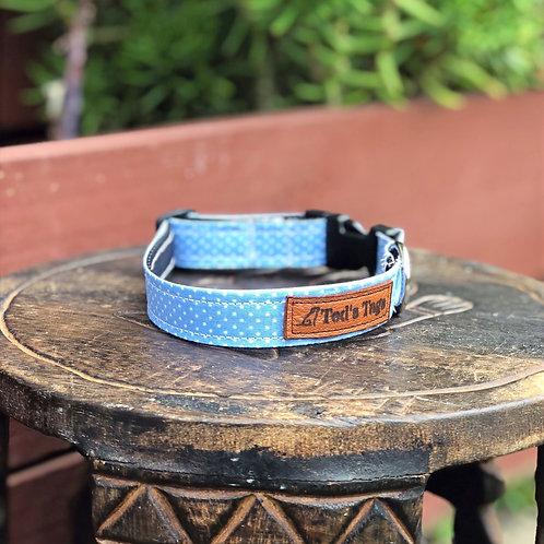 Baby Blue Polka Dot Design Dog Collar