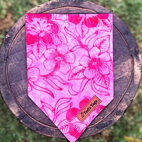 Bright Pink  Flower Design Dog Bandana