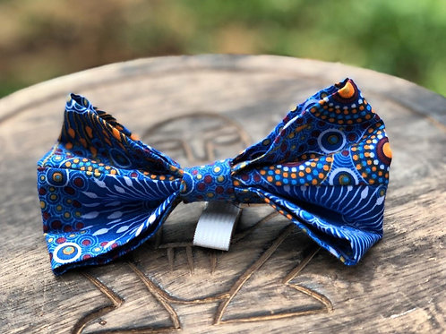 Indigenous Blue/Yellow/Orange Design Bow Tie