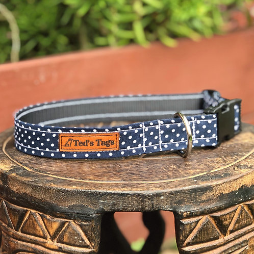 Navy Blue Polka Dot Design Dog Collar