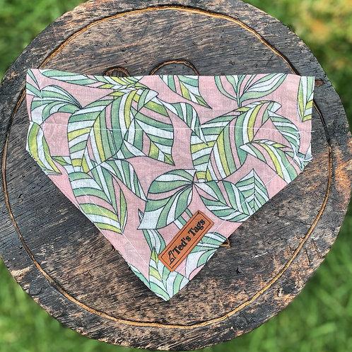 Pink, Green Leaf  Design Dog Bandana
