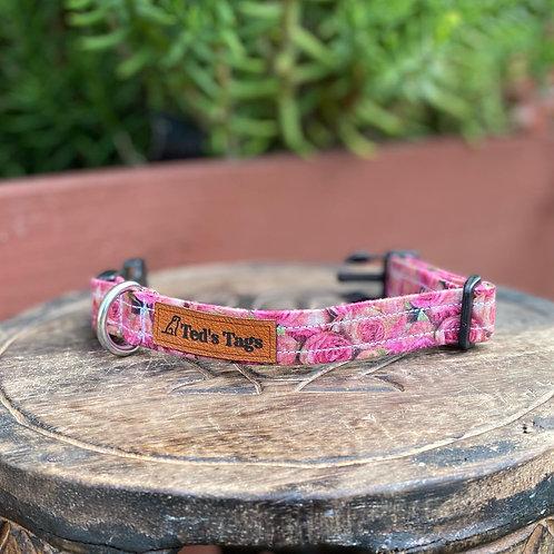 Pink Rose Design Dog Collar
