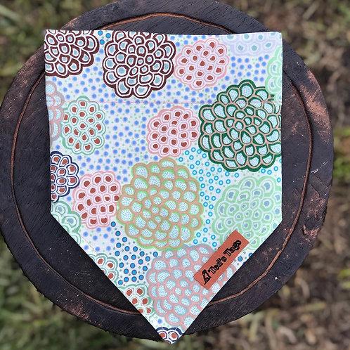 Indigenous Flower Design Bandana, Green/Blue/Brown