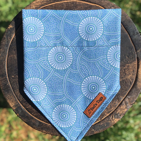 Indigenous Blue/White Design Dog Bandana