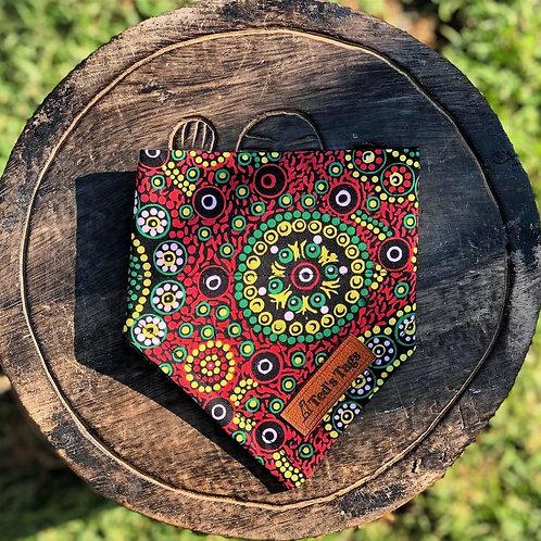 Indigenous Red/Green/Yellow Design Dog Bandana