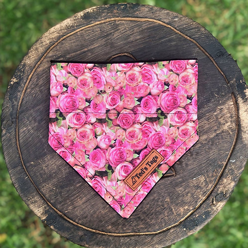 Pink Rose Design Dog Bandana