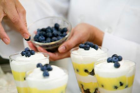 Layered Blueberry Dessert in commssary kitchen shared kitchen rentals san diego