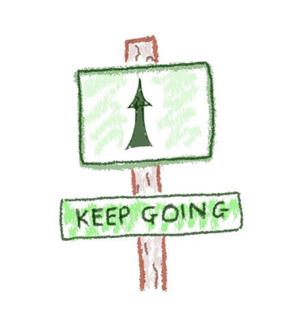 Keep Going Road Sign