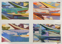 Four Panel Boat Shapes Study Mixed Media