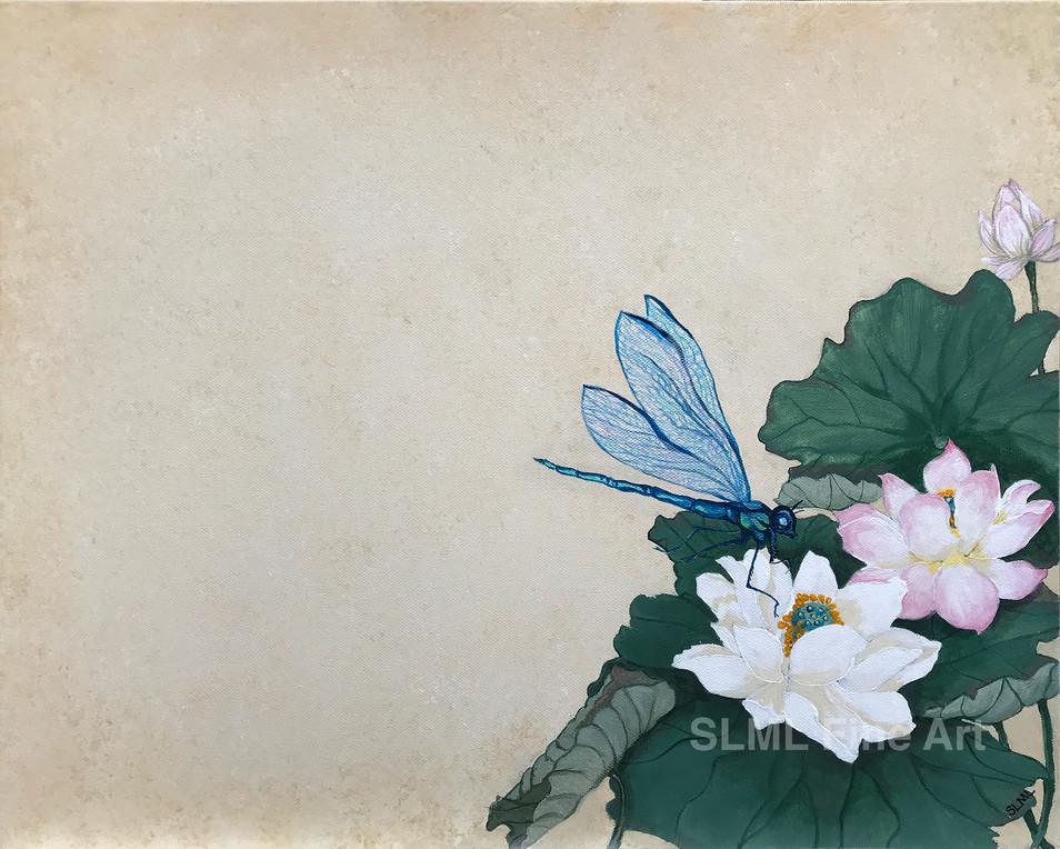 Dragonfly With Waterlilies