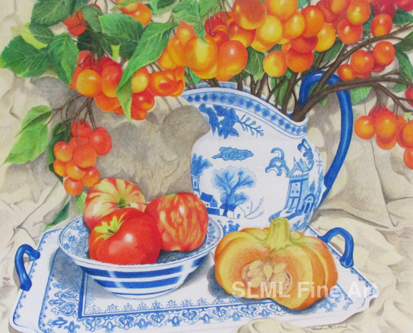 Blue & White Porcelain with Cherries
