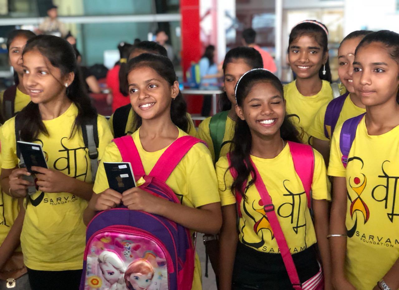 Sarvam Shakti Girls at IGI Airport, New Delhi - on their way to Poland!