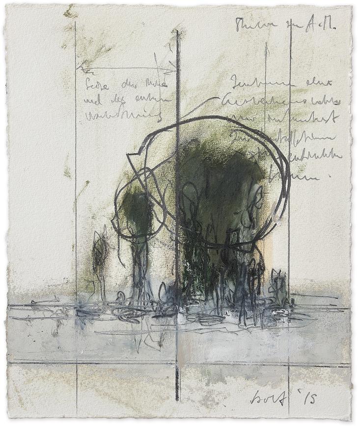 Studie zu «Another Morning»   2015   Öl und Bleistift auf Büttenpapier   23.5 x 20 cm