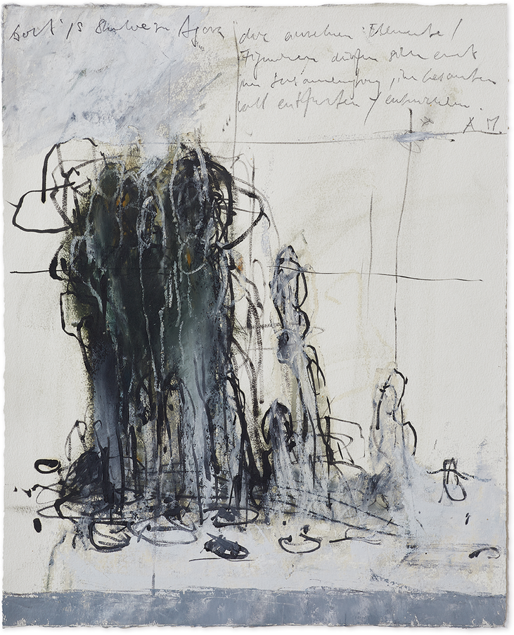 Studie zu «Agora»   2015   Öl und Bleistift auf Büttenpapier   48 x 39.5 cm