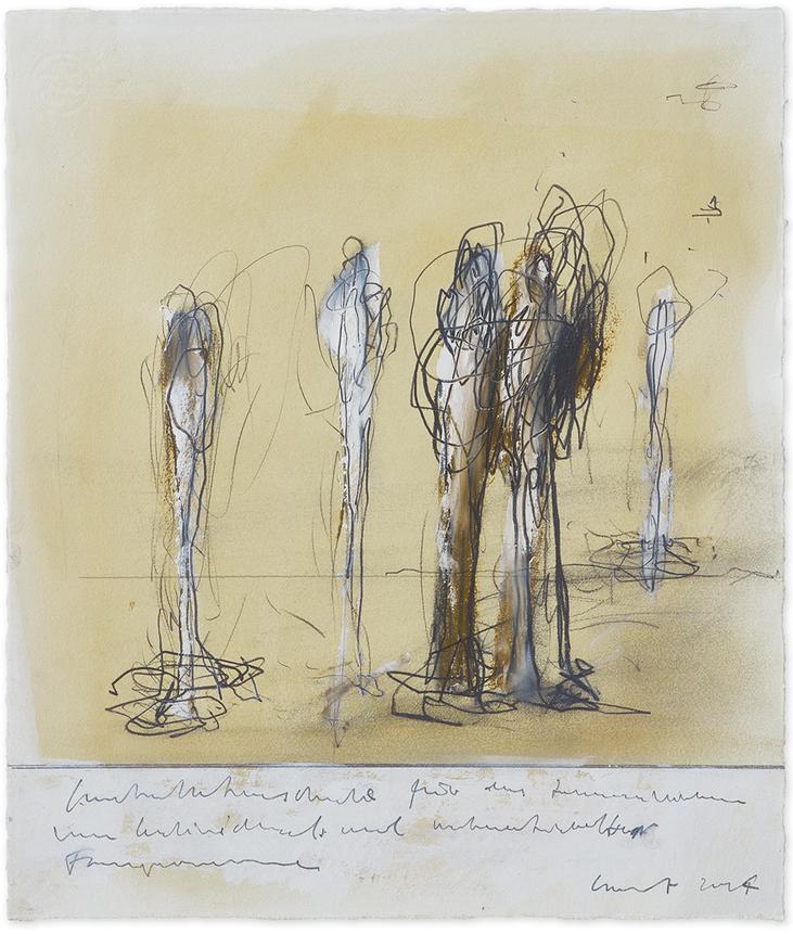 Studie zu «Individuals»   2015   Öl und Bleistift auf Büttenpapier   46 x 39 cm