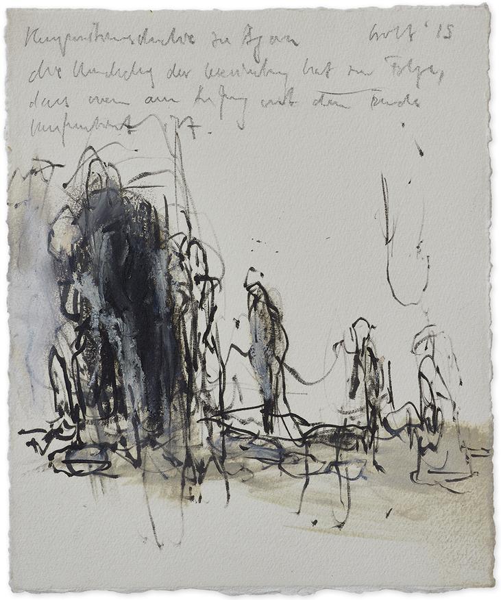 Kompositionsstudie zu «Agora»   2015   Öl und Bleistift auf Büttenpapier   23.5 x 20cm
