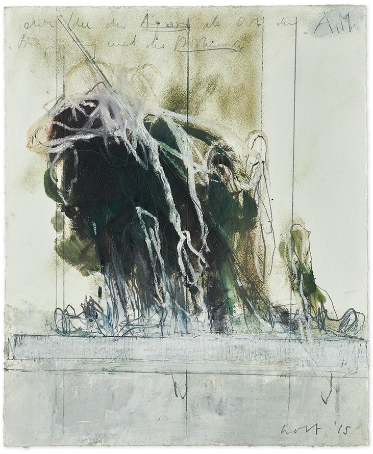 Studie zu «Another Morning»   2015   Öl und Bleistift auf Büttenpapier   47 x 39cm